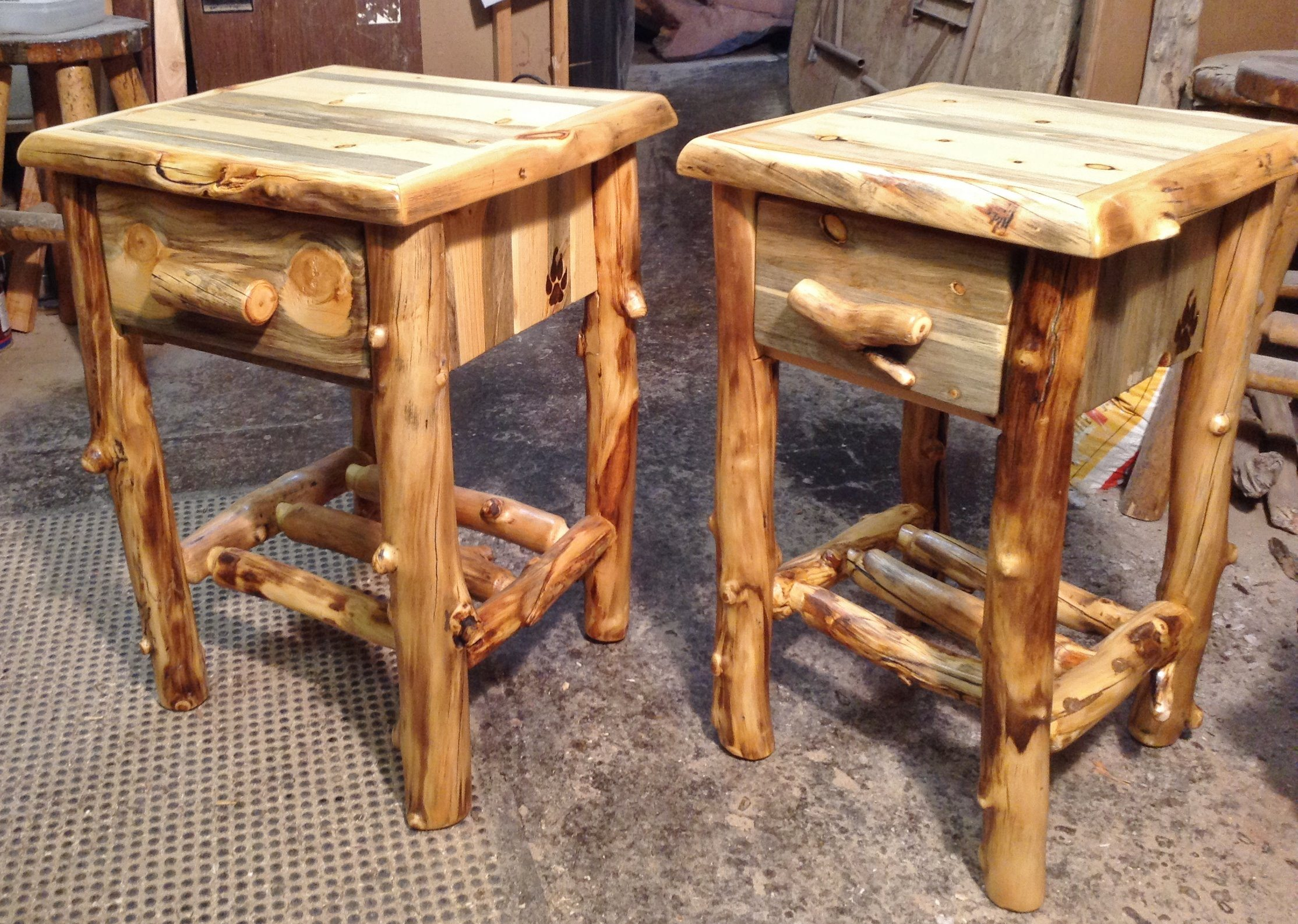 Night Stands Aspen Log And Beetle Kill Pine Furniture