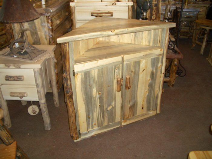 corner credenzas aspen log and beetle kill pine furniture