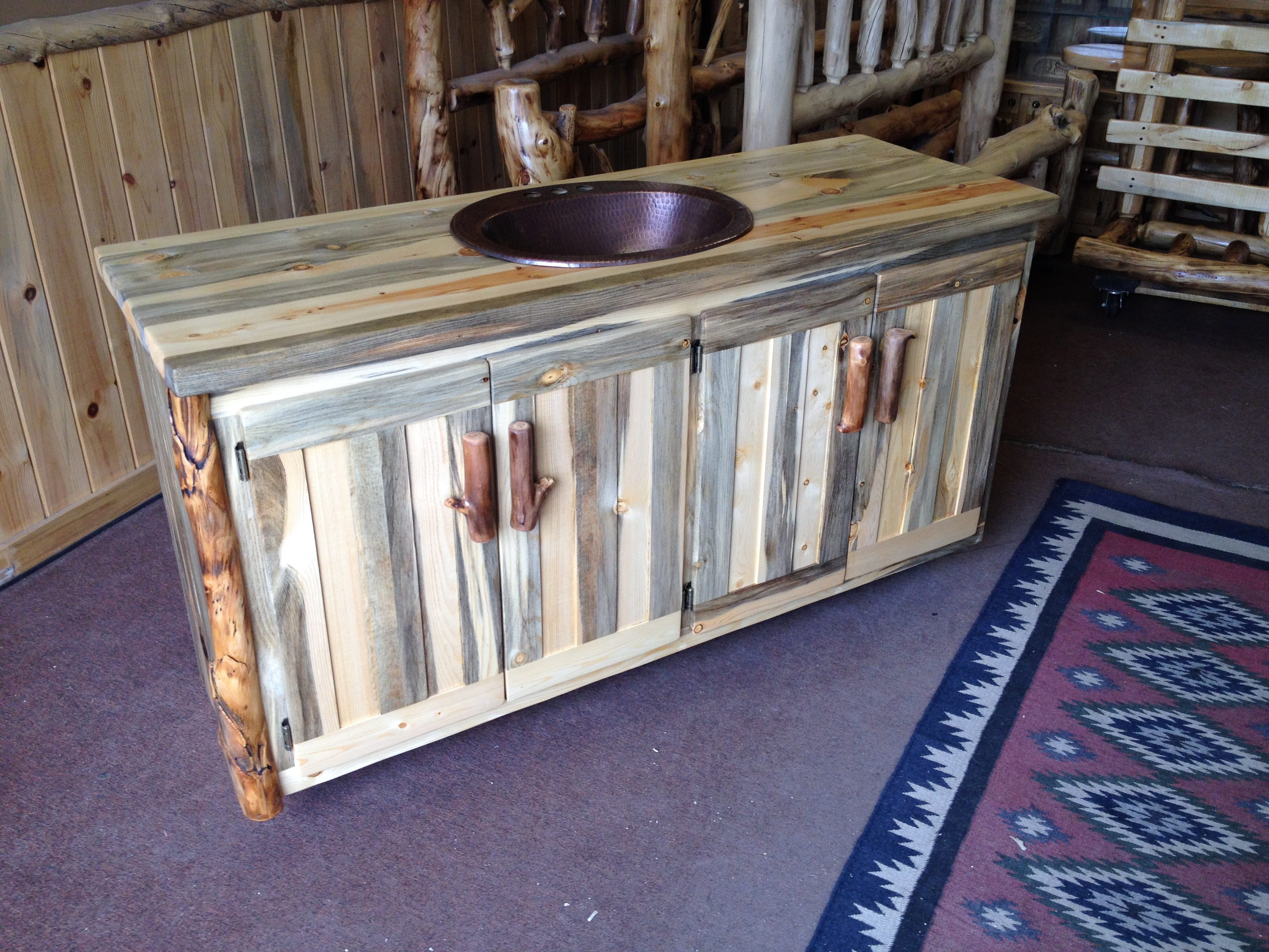 Bathroom Vanities Aspen Log And Beetle Kill Pine Furniture